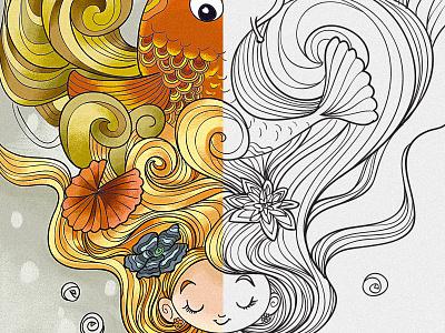 Koi Hair fish girl hair fantasy character cute whimsical line art coloring book drawing cartoon illustration