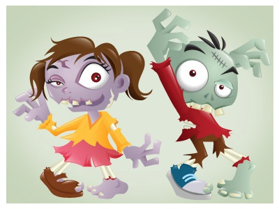 Zombies! zombie halloween cartoon illustration vector mascot character scary spooky