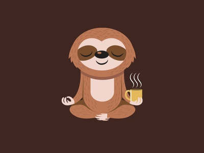 Yoga + Sloth + Coffee t-shirt shirt character funny vector coffee yoga sloth drawing cartoon illustration