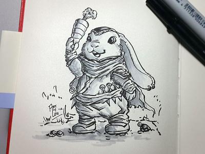 Ninja Bunny character design character cute ninja bunny rabbit kidlitart ink sketch drawing cartoon illustration