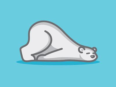 Current Mood sleep polar bear funny flat simple vector cute lazy bear drawing cartoon illustration