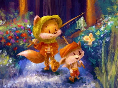 Journey Home digital painting character woods fun whimsical cute fox children drawing cartoon illustration