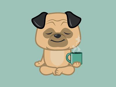 Meditating Pug yoga character coffee fun whimsical cute dog pug vector drawing cartoon illustration