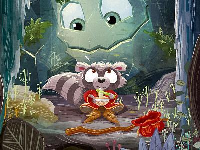 Ramen! childrens book digital painting character woods ramen whimsical cute raccoon children drawing cartoon illustration