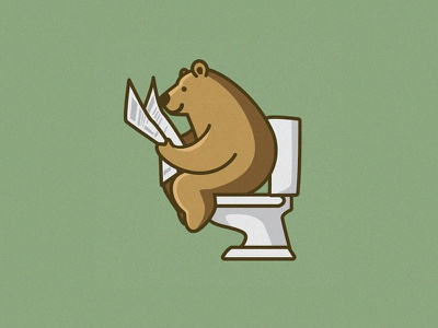 Favorite Pastime toilet vector logo whimsical cute bear funny cartoon illustration