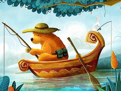 Gone Fishin' digital art digital painting fishing cartoon character cute rabbit bear drawing draw illustration
