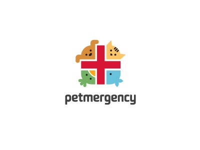 Petmergency Logo logo brand identity pet animal aid emergency rescue character fun illustration illustrative positive