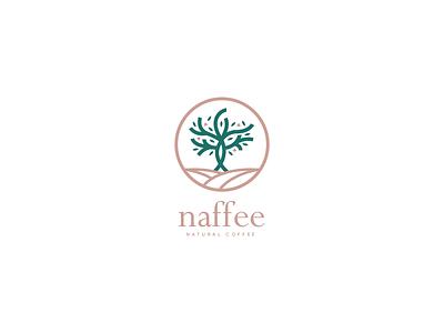 naffee - natural coffee symbol geometric logomark coffee leaf brown green logo branding vector brand corporate design