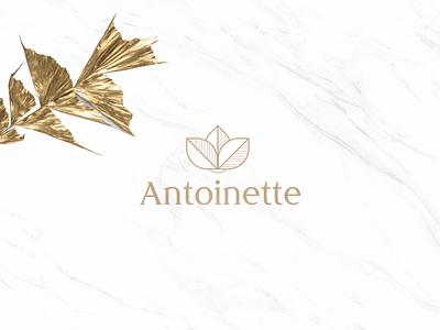 Antoinette flower gold beauty cosmetics logodesign typography branding logo brand corporate