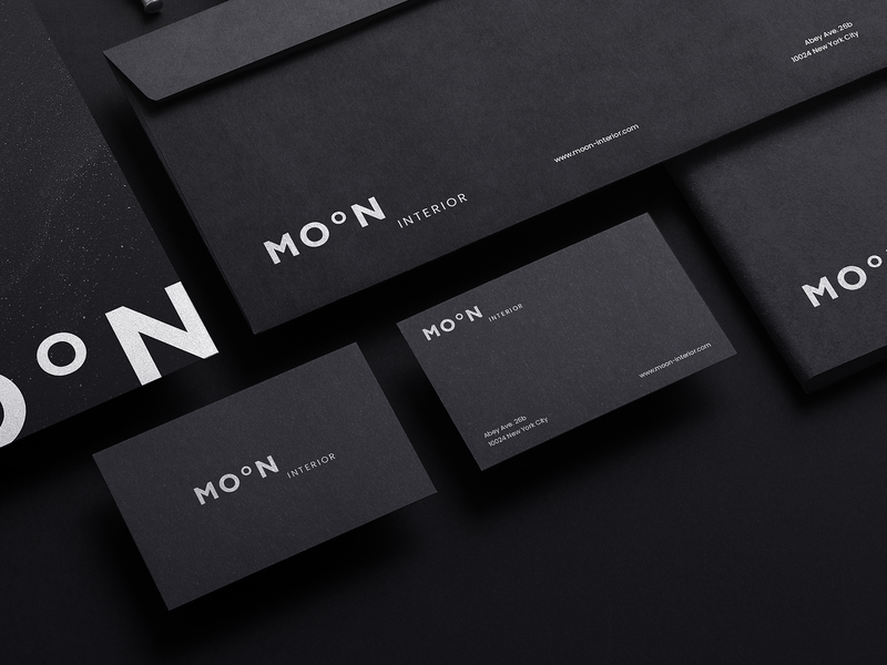Moon Interior black letterhead business card print typography logo branding brand design corporate