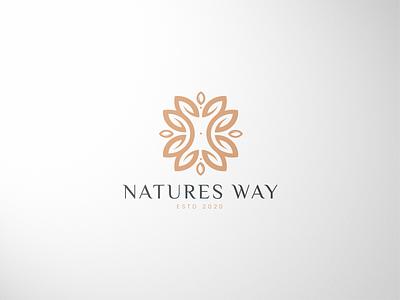 Natures Way Branding branding simple cosmetics natural leaf logo golden brand logo nature logo
