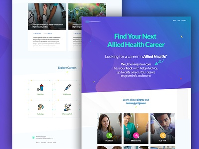 Home Page Visual for One Allied Health Care Company imtiaz qazi colorful vibrant design web page web design ux ui