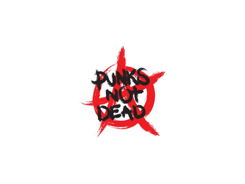 Punks Not Dead brush illustration clothing minimal lettering