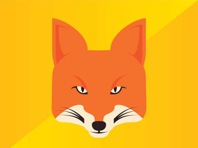 """Hi, I've had """"What Does the Fox Say"""" in my head for too long flat pen tool logo icon drawing geometric orange illustration fox"""