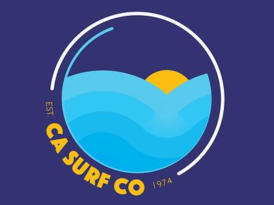 CA SURF CO Badge logo monolinear waves retro monoline icon badge surfing