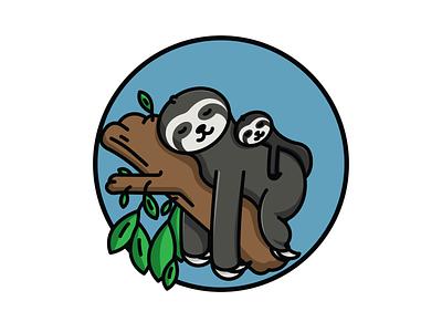 They Call Me the Sloth monoline drawing circle circular geometric illustration logo they call me the sloth sleeping tired mama baby mom sleepy sleep phish sloth adobe illustrator