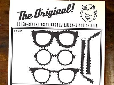Super Secret Spy Disguise Kit poster illustration retro 50s spy kit screen print comic book inspired