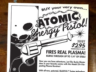 Bucky Blaster retro 50s comic book illustration ads poster screen print graphic design black  white