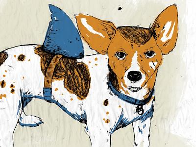 WIP - Little Dog work in progress droll shark terrier screen print album cover illustration dog