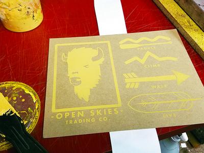 Open Skies Trading Co. Branding illustration hand-rendered futura branding apparel outdoors modern bison graphic design screen print logo