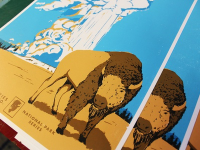 Yellowstone - Open Skies National Park Series poster series old school wpa-inspired national parks outdoors hand-made screen print retro illustration