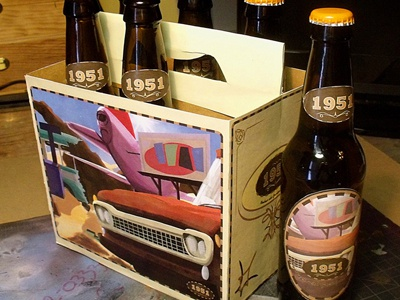 1951 Box And Bottle Cad packaging retro 1951 illustration graphic design root beer digital painting