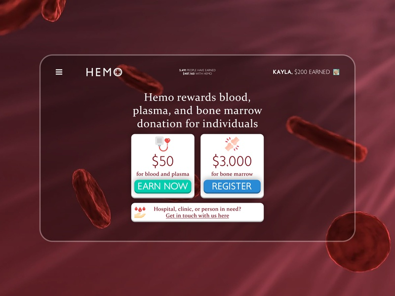 Hemo - a new way to get rewarded for giving blood health care medical design medical app marrow bone health medical blood