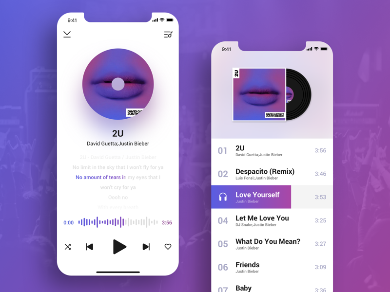 Rock and roll : Music App ui