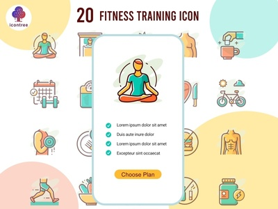 Fitness Training icon lose weight food diet app meditation workout gym body health yoga filled line creative filled outline flat icon vector icons ui design character illustration