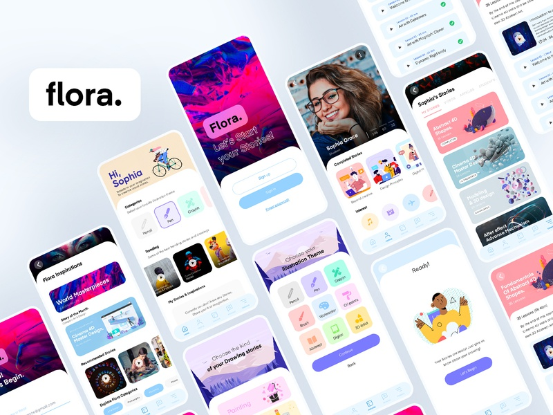 Flora Design IOS App 3d adobe xd minimal illustration user interface drawing app mobile ui illustration app design app ios application ux ui app ios
