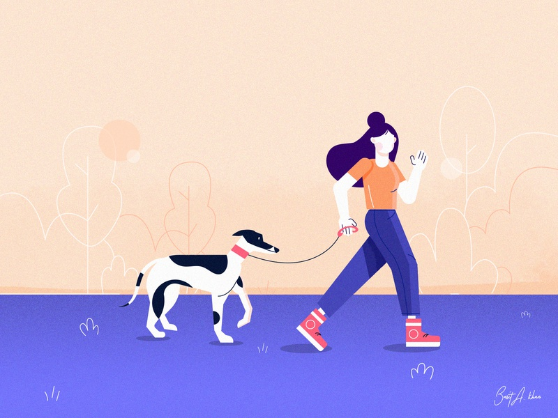 Health is Wealth_Walking pets animal cute basit a khan jogging fitness scene illustrator ui health clean boy man dog character illustration walk