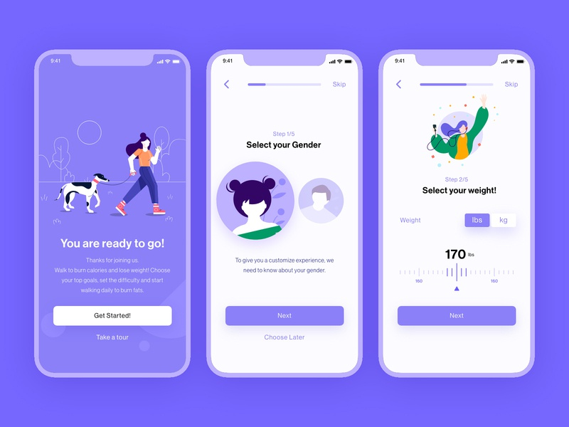 Stepify app exercise iphone minimal ux illustration character health jogging walk ios mobile ui app fitness steps