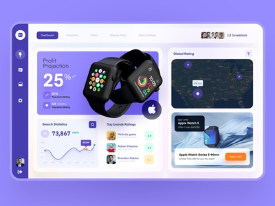 Product Investment Dashboard dashboard ui management product watch apple web website trend c4d minimal userinterface app investment 3d dashboard ux ui