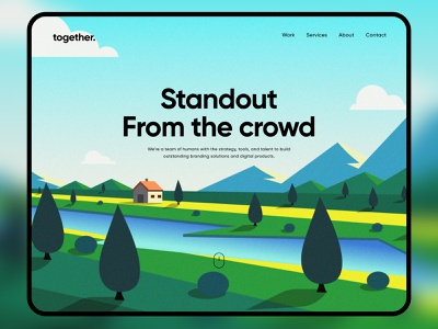 together. | Landing page Illustration landscape agency design trend illustration website web landing page minimal app ux ui