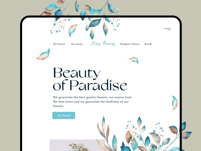 Haus Flowery | Landing page design illustration beauty botany paradise flower trend website user interface minimal ux app ui landing page