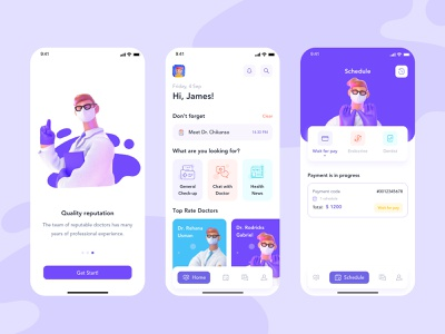 DocOnline App ios application hospital user interface ui design illustration health doctor 3d adobe xd ux app design ui app