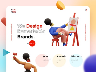 Circular Design Agency Landing page creative web illustration c4d 3d app ux ui web design website trend agency design landing page