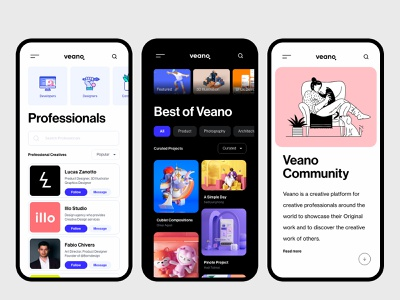 Veano showcase app ui c4d illustration adobe xd minimal ux app trend ios user experience creative 3d designer portfolio application