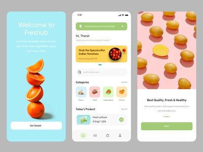 Freshub Grocery App adobe xd user interface delivery app ux fruits ui vegetable application food app groceries