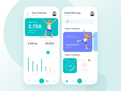 Health Monitor App 3d trend modern app ui design android ios application design diet monitor walk steps heart health application user interface app ux ui