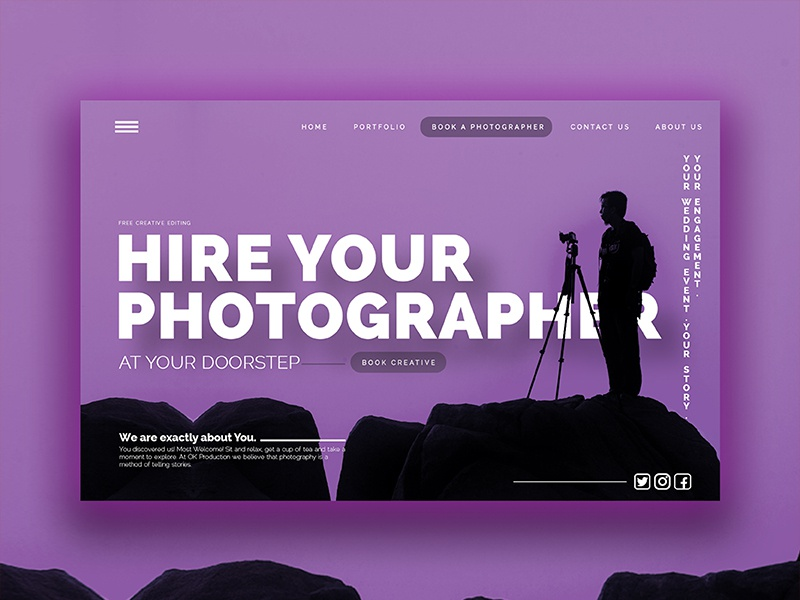 Hire your photographer (Landing page) by Basit A khan on Dribbble