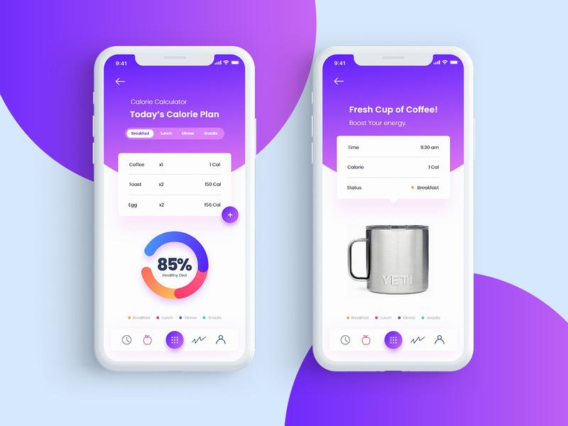 Fit planner App coffee fitness app fitness calorie ios app design ios user interface illustration app adobe xd ux ui