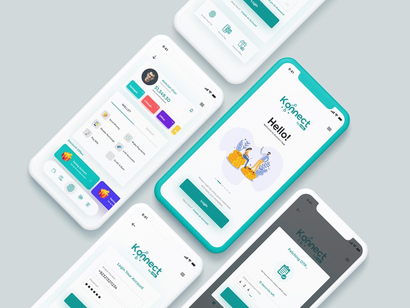 Konnect App redesign adobe xd minimal user experience finance app iphone ios user interface ux ui app pakistan bank konnect