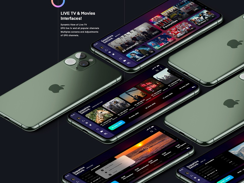 Sapphire Secure ios ap ios tv user experience userinterface live tv adobe xd app ux ui