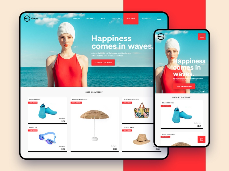 Simpul beach webdesign android ios fashion trend user interface web landing page adobe xd app minimal ux uiux ui responsive website