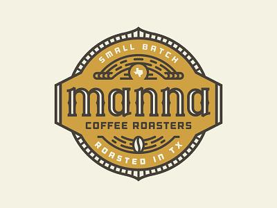 Manna Coffee Roasters lifework wordmark serif texas bean design badge logo roasters coffee manna