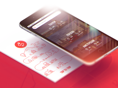 TAP TO TRIP | iOS & Android App white red iphone splash isometric interface search illustration icon app ux ui