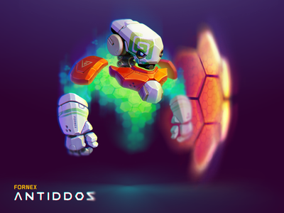 Character ANTIDDOS   Fornex android cyborg weapons animation icon illustration mascotte character robot droid motion
