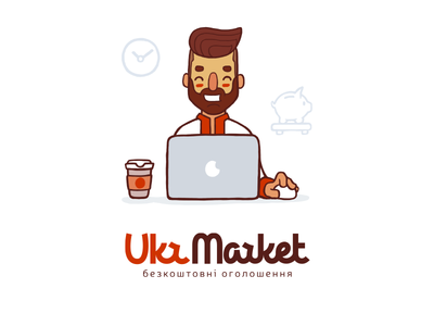 UkrMarket marketplace beard hipster typography lettering marketplace illustration mascot logo