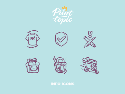 Info Icons | Print Topic delivery assurance security gift art design drawing illustration icon